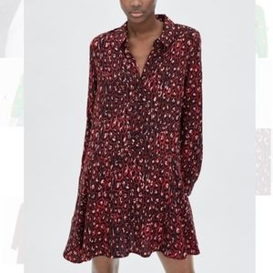 Zara TRF Collection Red Leopard Long Sleeve Dress